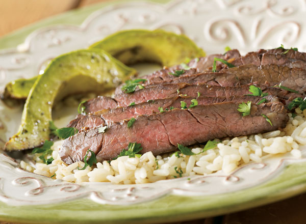 Skirt Steak with Baked Avocados