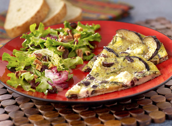 Eggplant Olive Frittata With Dried Fruit Salad