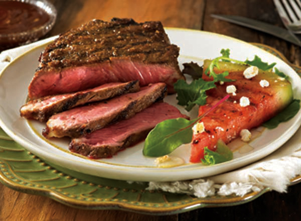 Dry-Rub Steaks with Barbecue Sauce and Grilled Watermelon Salad