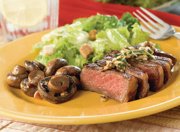 Savory Steaks With Blue Cheese Butter and Marvelous Mushrooms