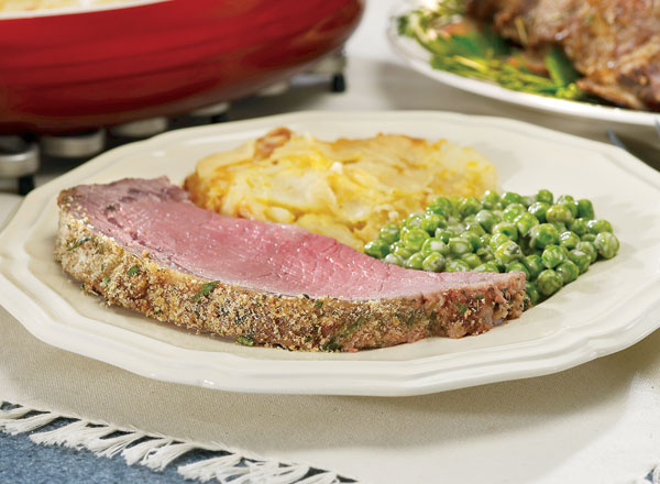 Herb-Crusted Rib Roast and Scalloped Potatoes