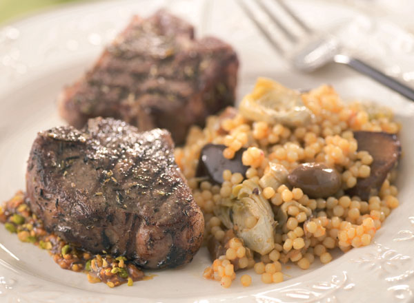 Grilled Lamb With Pistachio Sauce and Caponata Couscous