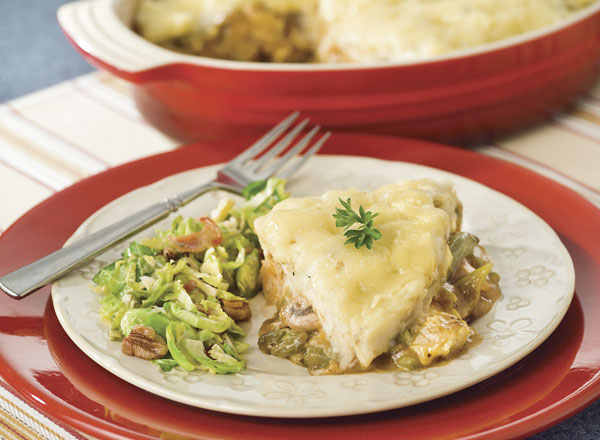 Turkey Cottage Pie and Bacon-Pecan Brussels Sprouts