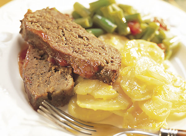 Mom's Meatloaf, Creamy Potatoes, and Italian Green Beans