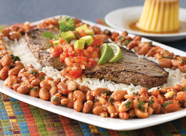Carne Asada With Salsa and Zesty Pinto Beans