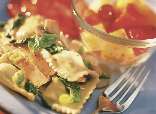 Chicken Ravioli Florentine with Lime-Kissed Fruit