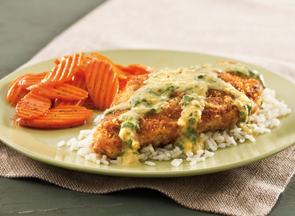 Perfect Panko Chicken with Hummus and Zesty Honey Carrots