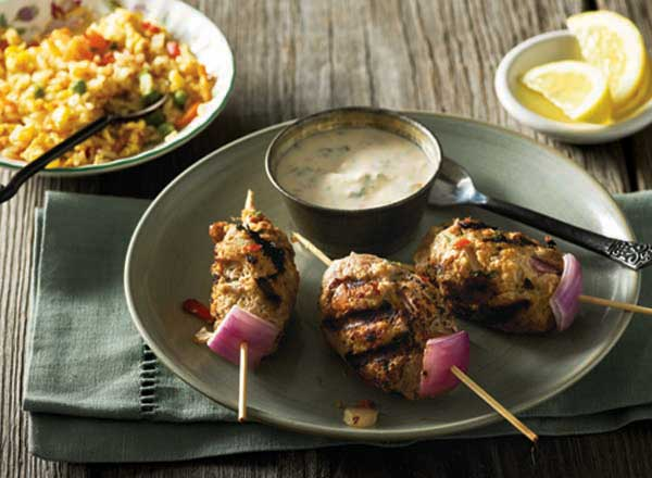 Turkey Kabobs With Ginger-Yogurt Sauce and Easy Rice Stir-Fry