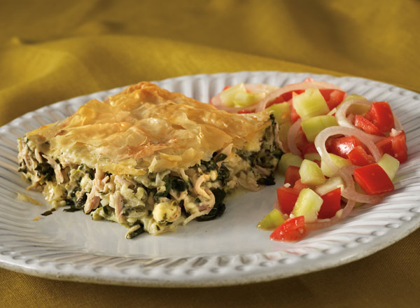Phyllo Chicken Pie and Scampi Vegetable Salad