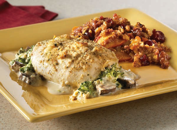 Broccoli Cheese Stuffed Chicken with Peach Cranberry Casserole