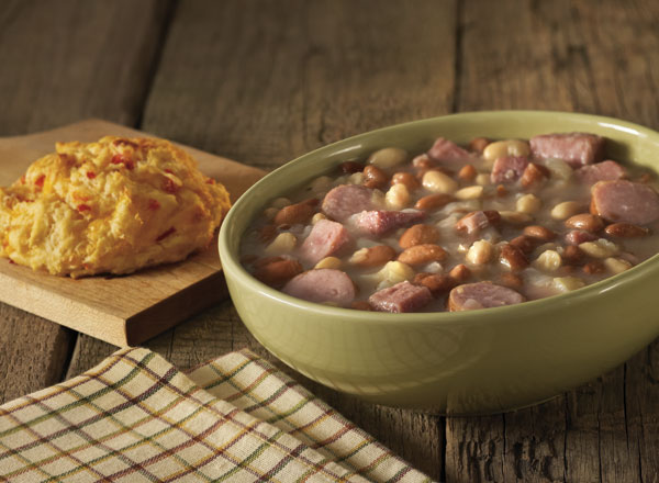 Ham and Beans With Sausage and Cheddar-Pimiento Biscuits