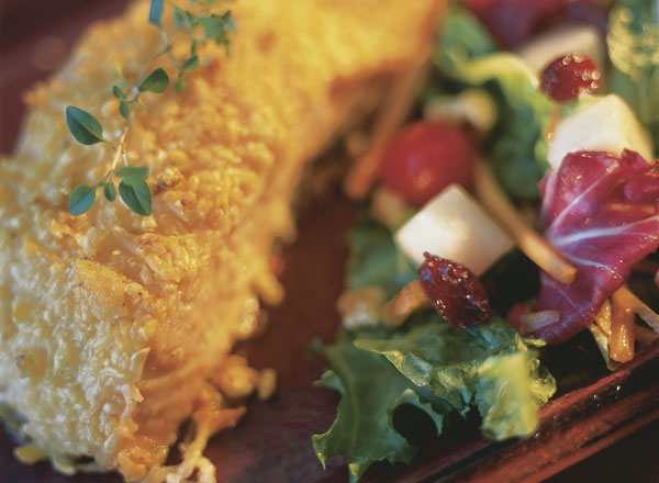 Parmesan Crusted Salmon With Crunchy Pear Salad