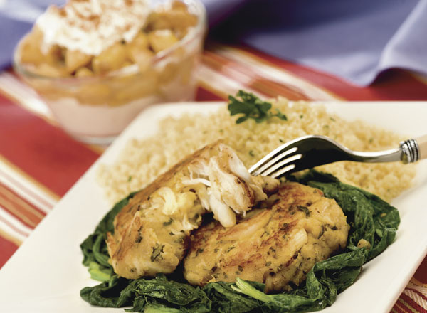 Nested Crab Cakes with Couscous and Pears with Gorgonzola Cream