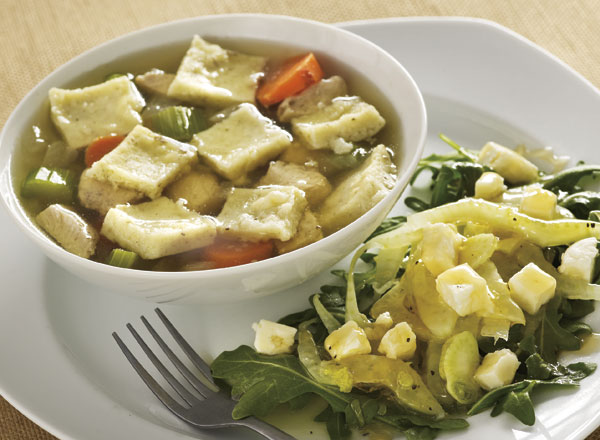 Gluten-Free Chicken and Dumpling Soup with Fennel-Honey Salad