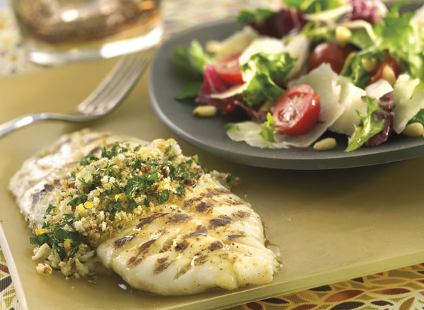 Grilled Fish With Gremolata and Spring Salad With Parmesan