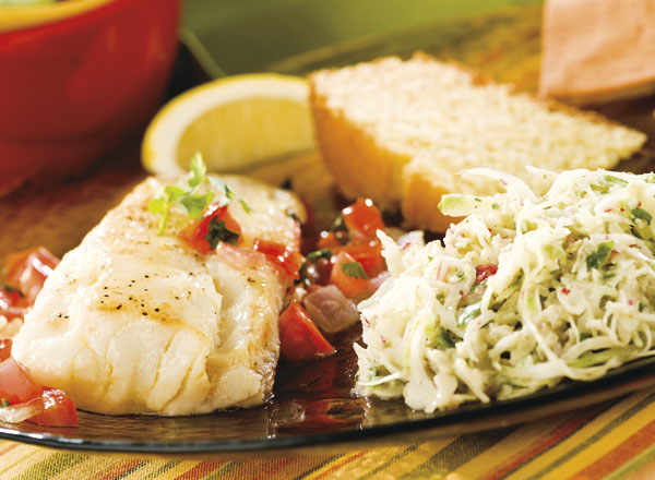 Pan-Fried Fish and Tomatoes With Cabbage Radish Slaw