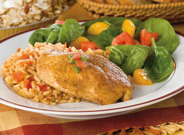 Zesty Chicken Orzo with Spinach Raspberry Salad