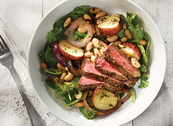 Grilled Steaks with Warm White Bean Salad