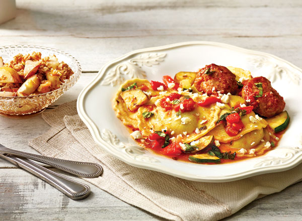 Italian Meatballs and Ravioli with Caramel Pear Crisp