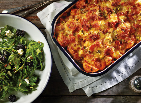 Buffalo Chicken and Potato Casserole with Blackberry Salad