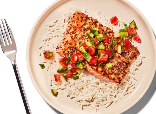 Flaxseed Salmon with Cucumber-Tomato Salsa