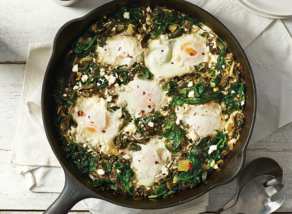 Baked Eggs over Creamy Greens