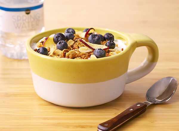 Fruit and Nut Muesli over Yogurt with Blueberries