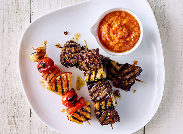 Spicy Beef and Zucchini Skewers with Pineapple Romesco