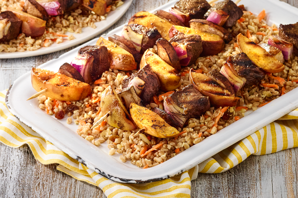 Beef and Peach Skewers with Persian Farro Salad