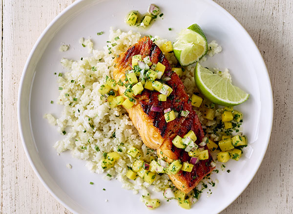 "Spiced Salmon with Mango Salsa and Cauliflower ""Rice"""