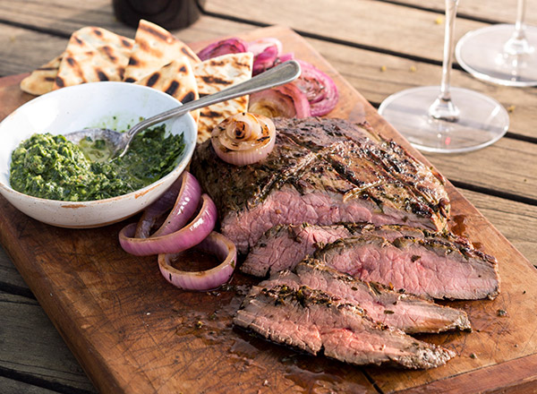 Chimichurri Flank Steak with Grilled Pita
