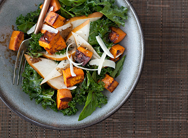 Pear and Kale Salad with Sweet Potatoes and Parmesan