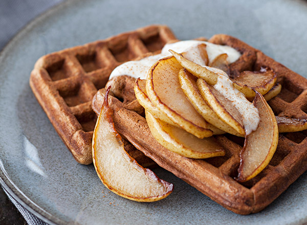 Gingerbread Waffles with Sautéed Pears