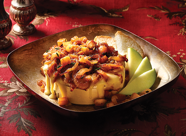 Caramelized Onion and Apple Baked Brie