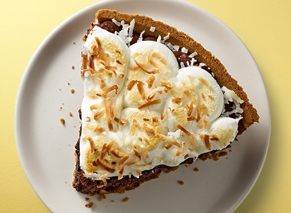 Brownie Pie with Coconut Marshmallow Frosting