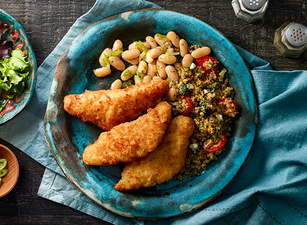 Breaded Fish with Herbed Beans and Quinoa Blend