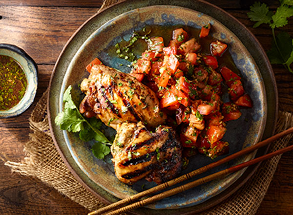 Thai Grilled Chicken Thighs with Tomato Salad