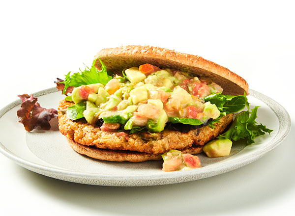 Lentil Burger with Cool Avocado Salsa