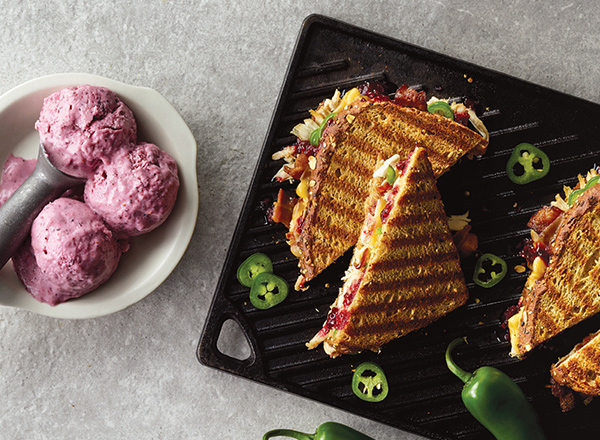 Blackberry Barbecue Chicken Panini with Coconut-Berry Freeze