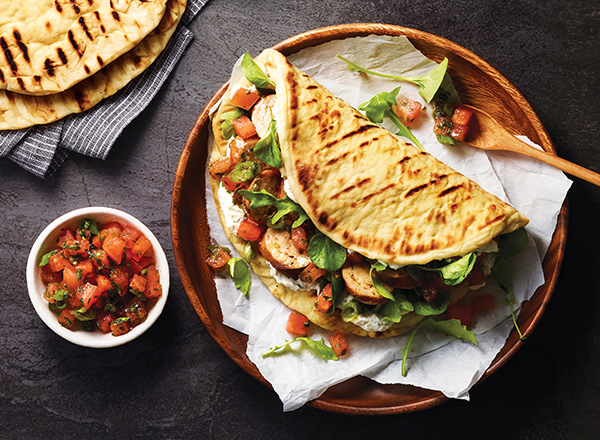 Grilled Sausage and Watermelon Salsa Flatbreads