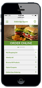 Publix mobile Home page